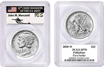2020-W $25 Burnished Palladium Eagle SP70 PCGS First Strike J Mercanti *POP 5*