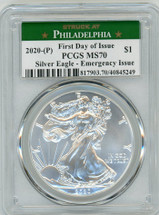 2020-(P) ASE MS70 PCGS Emergency Issue FDOI Struck at Philadelphia label