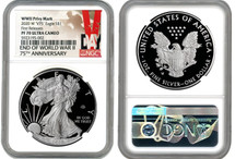2020 W $1 Proof Silver Eagle WWII Privy V75 NGC PF70 First Releases V-Day label