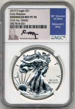 2019 S Enhanced Rev Proof Silver Eagle NGC PF70 Ed Moy COA #40 David Ryder