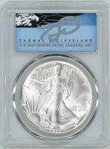 1986 $1 Silver Eagle MS69 PCGS First Year of Issue Thomas Cleveland Blue Eagle