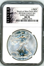2015 (W) ASE MS70 NGC Early Releases Struck at West Point Mint SILVER label