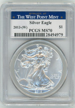 2013-(W) $1 Silver Eagle MS70 PCGS Struck at West Point Mint blue star label