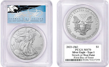 2021-(W) $1 Silver Eagle MS70 Struck at West Point FDOI T Cleveland Blue Eagle
