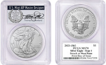 2021-(W) $1 Silver Eagle MS70 PCGS Struck at West Point FDOI T Cleveland wreath