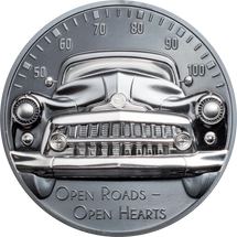 2021 $10 Silver 1oz. Black Proof Cooks Islands Classic Car - Open Roads High Relief