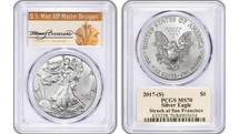 2017 (S) Silver Eagle PCGS MS70 THOMAS CLEVELAND San Francisco *Pop 180*