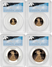 2021-W 4-coin Proof Gold Eagle Set ($5, 10, 25, 50) PR70 PCGS Type 1 FDOI T. Cleveland blue eagle POP 10