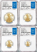 2021 Gold Eagle 4-Coin Set ($5, 10, 25, 50) PF70 NGC Ultra Cameo Family of Eagles T-1 Advance Release one of 1260 Ed Moy