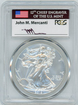 2012-W Burnished ASE SP70 PCGS Flag Mercanti signed label