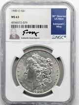 1900 O Morgan Dollar MS63 NGC Ed Moy signed label New Orleans Mint