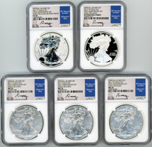 2011 ASE 5 Coin Set MS70/PF70 NGC Early Releases 25th Anniversary Ed Moy signed label