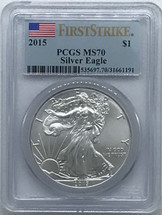 2015 ASE MS70 PCGS First Strike Flag label