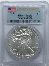 2013 ASE MS70 PCGS First Strike Flag label