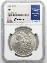 1888 O Morgan Dollar MS64 NGC Ed Moy signed New Orleans Mint