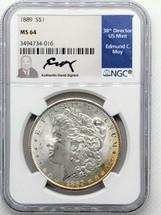 1889 Morgan Dollar MS64 NGC Ed Moy signed