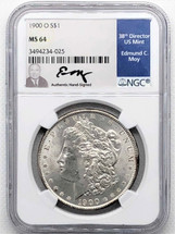 1900 O Morgan Dollar MS64 NGC Ed Moy signed New Orleans Mint