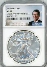 2016 ASE MS70 NGC Eagle 30th Anniv Ronald Reagan label