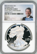 2016 W PF70 Ult Cam NGC Lettered Edge Eagle 30th Anniv Ronald Reagan label
