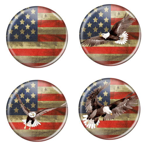 """Distressed USA Flag Patriotic Rustic 1.5"""" Pinback Buttons - 4 Pack"""