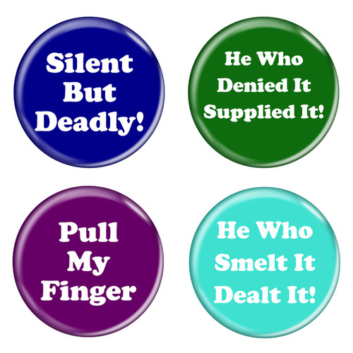 """Passing Gas Fart Humor Funny Phrases 1.5"""" Pinback Buttons - 4 Pack"""
