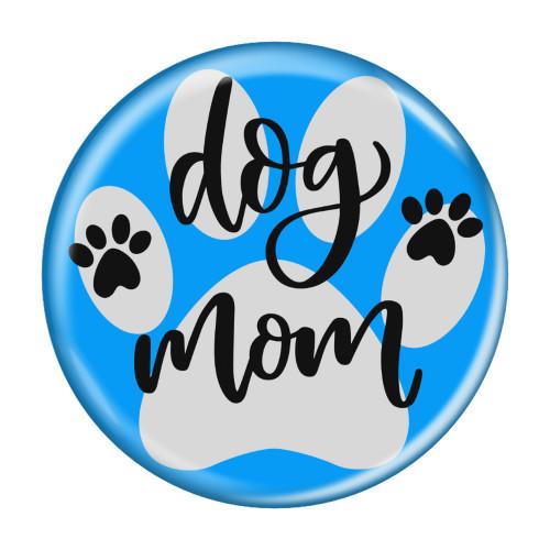 "Dog Mom Paw Print Aqua 2.25"" Compact Pocket Purse Hand Mirror Back"
