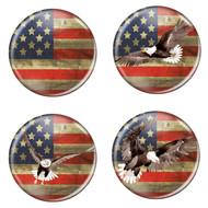 "Distressed USA Flag Patriotic Rustic 1.5"" Refrigerator Magnets - 4 Pack"