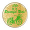 """Life is a Beautiful Ride! Green Cycling Bicycle 1.5"""" Refrigerator Magnet"""