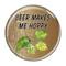 "Beer Makes Me Hoppy Wood Grain 1.5"" Refrigerator Magnet"