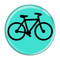 "Bike Silhouette Cycling Biking Turquoise 1.5"" Refrigerator Magnet"