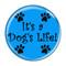 """It's a Dog's Life Aqua 1.5"""" Refrigerator Magnet"""