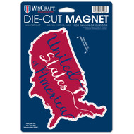 """United State of America Map Die Cut 6.25"""" x 9"""" Car Magnet"""