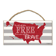 USA Land of the Free Wood Sign with Rope