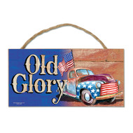 USA Old Glory Wood Sign with Rope