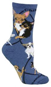 Chihuahua Dog Blue Large Cotton Socks