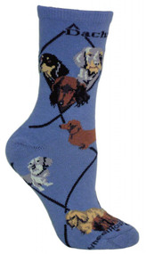 Dachshunds Dog Blue Cotton Ladies Socks