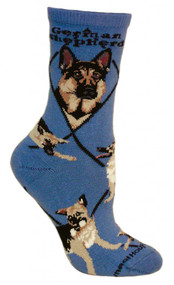 German Shepherd Dog Blue Large Cotton Socks