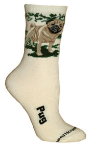 Fawn Pug Natural Color Cotton Ladies Socks