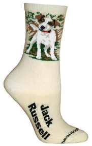 Jack Russell Natural Color Cotton Ladies Socks