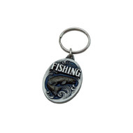 Fishing Pewter Key Chain