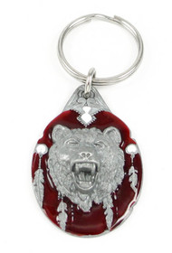 Grizzly Head Pewter Keychain