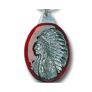 Indian Chief Red Pewter Keychain