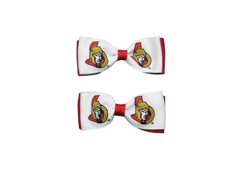Ottawa Senators Hair Bow Pair