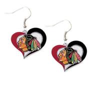 Chicago Blackhawks  Swirl Heart Earrings