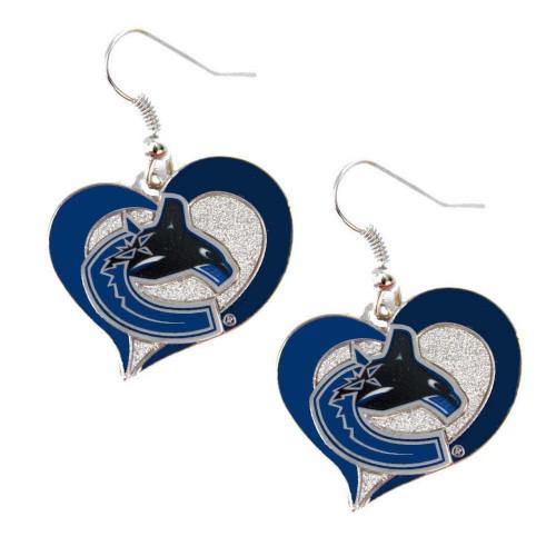 Vancouver Canucks  Swirl Heart Earrings