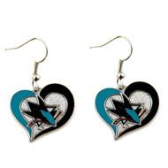 San Jose Sharks  Swirl Heart Earrings