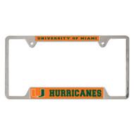 University of Miami Metal License Plate Frame