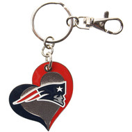 New England Patriots Swirl Heart Keychain