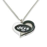 New York Jets Swirl Heart Necklace