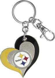 Pittsburgh Steelers Swirl Heart Keychain